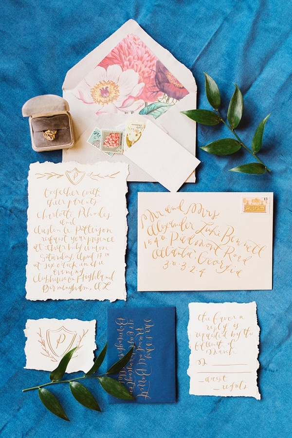 Colorful Floral Print and Calligraphy Wedding Invitation Suite