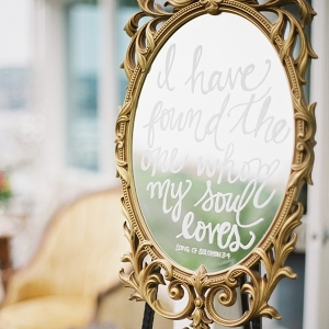 Wedding Sign on a Vintage Mirror