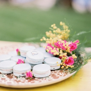 Pastel Macarons with a Delicate Vintage Engagement Ring