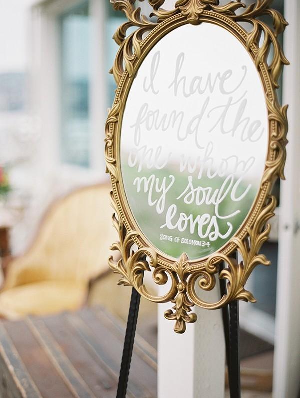 Wedding Sign on a Vintage Mirror