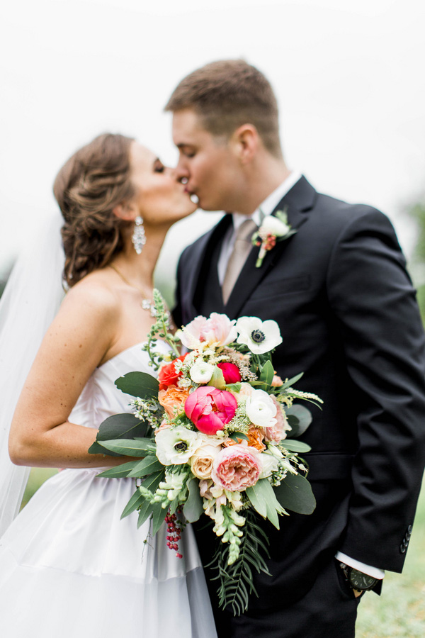 Modern Preppy Southern Chic Wedding with a Coral Charm Peony Bouquet