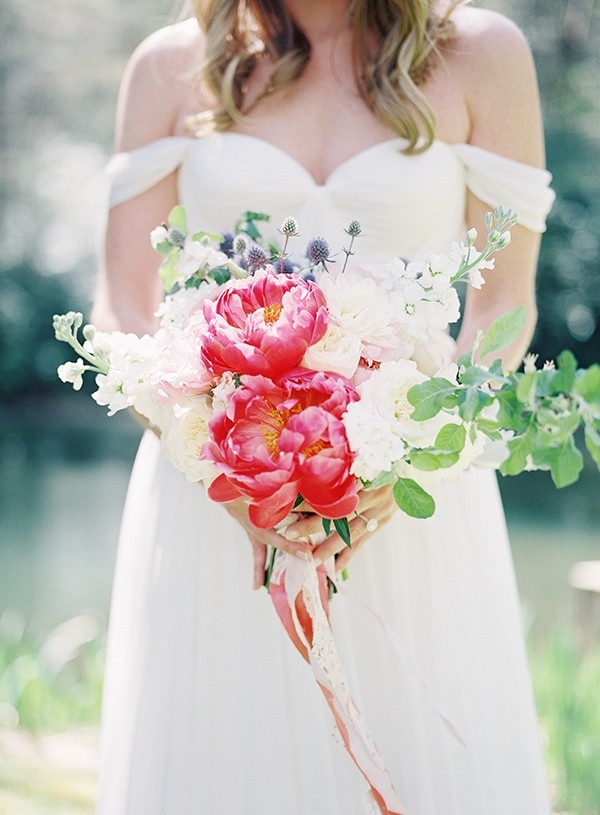 Bright Pink Peony Bouquet for an Elegant Summer Wedding