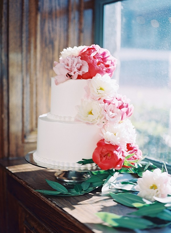 Buttercream Wedding Cake with Bright Pink and Blush Peonies