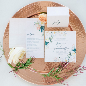 Floral Print Wedding Invitations on a Copper Tray