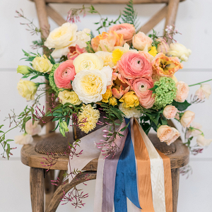 Colorful Citrus Wedding Bouquet with Summer Flowers