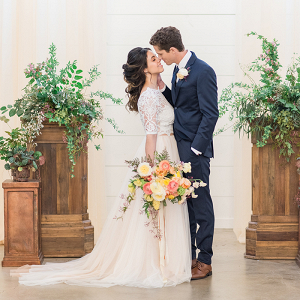 Summer Barn Wedding Ceremony with Greenery