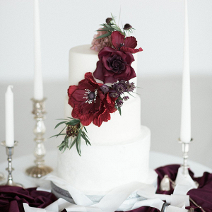 Sugar Flower Adorned Cake with Burgundy Roses