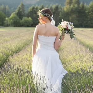 Magic Hour Bridal Portraits in a Lavender Field