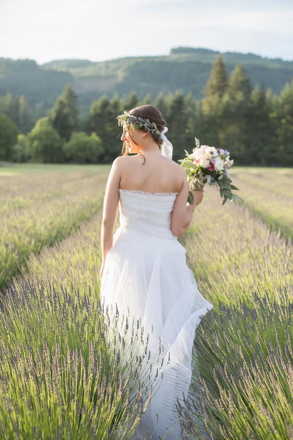 Magic Hour Bridal Portraits in a Lavender Field