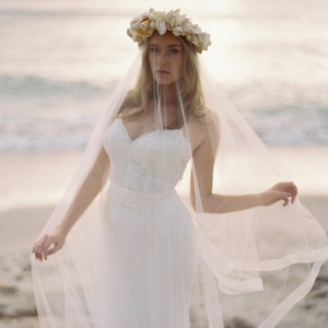 Romantic Beach Bride with a Veil and Shell Crown