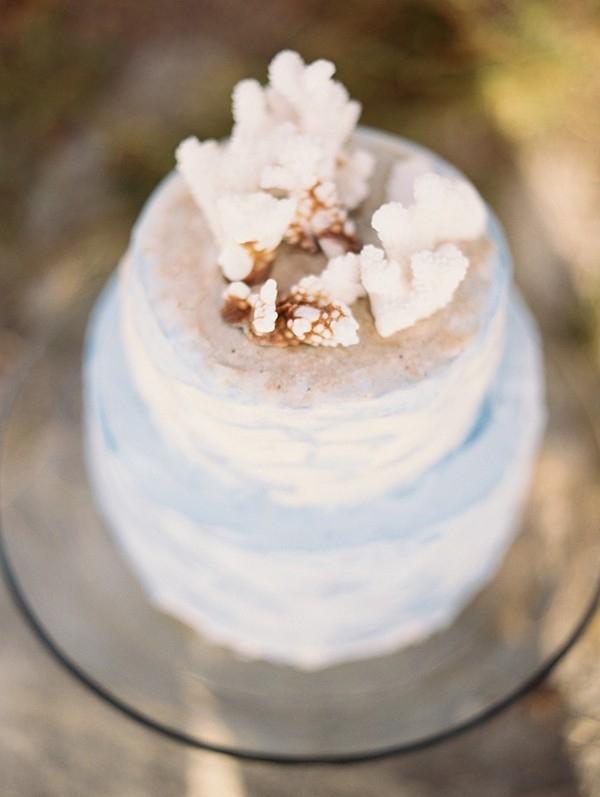 Ombre Ocean Inspired Beach Wedding Cake