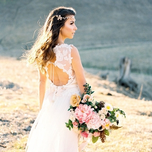 Open Back Lace Wedding Dress with a Colorful Fall Bouquet