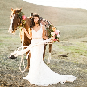 Romantic Bride with a Western Horse