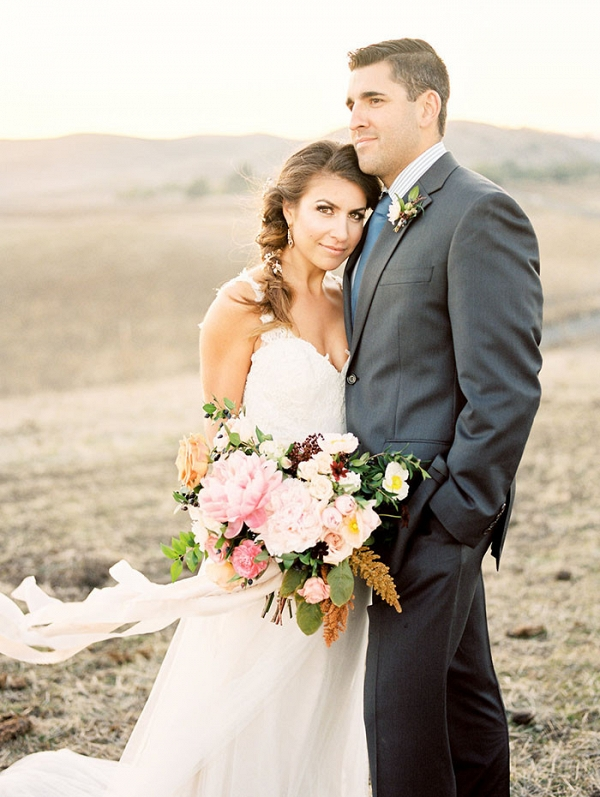 Elegant Bride and Groom at a Rustic Ranch Wedding