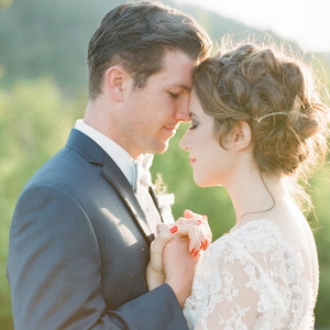 Bride and Groom at Magic Hour in the Mountains