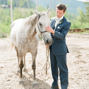 Handsome Groom with a Horse for an Elegant Ranch Wedding