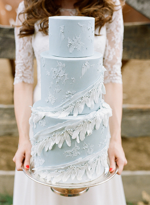 Tiered Wedding Cake with Sugar Feathers and Lace