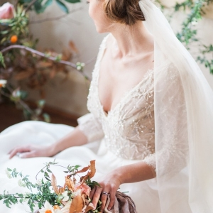 Champagne Lace Wedding Dress with Long Sleeves