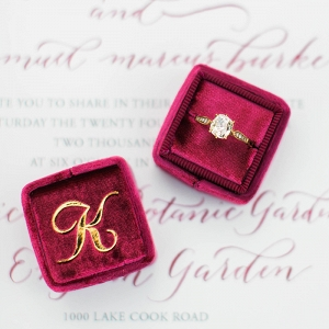 Vintage Velvet Ring Box with a Gold Monogram
