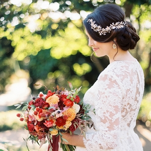 Romantic Long Sleeve Lace Wedding Dress with a Pearl Headpiece