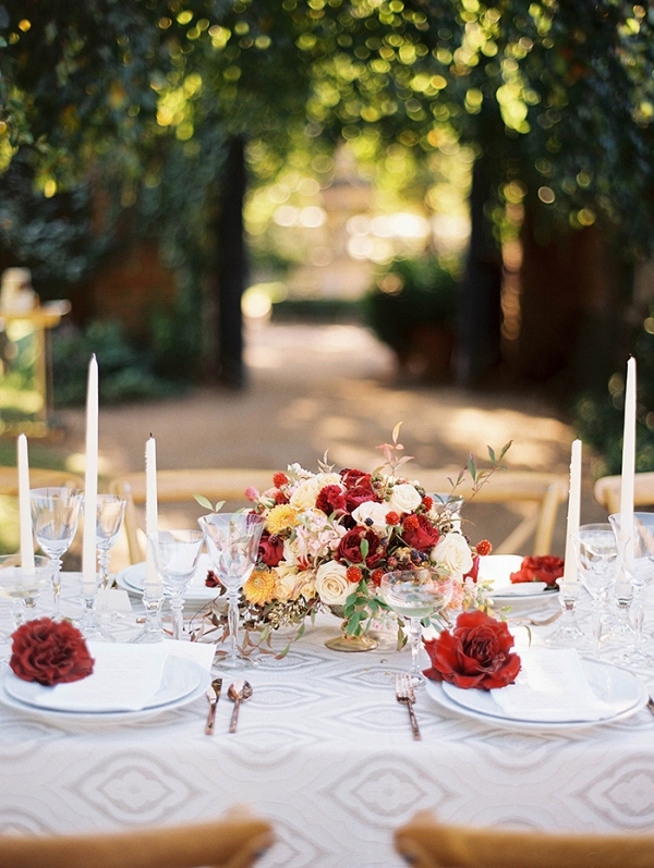 Classic Fall Flowers with Modern Gray Patterned Linens