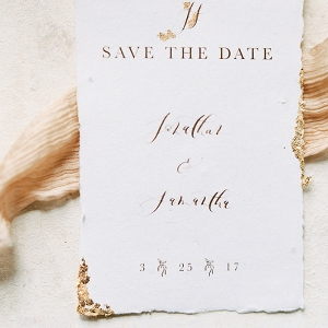 Calligraphy and Gold Leaf Wedding Invitations