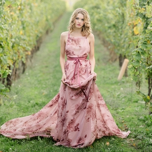 Winery Wedding Shoot with a Floral Print Dress
