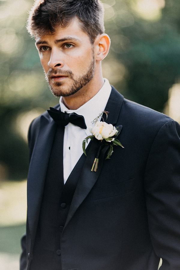 Three Piece Black Tie Suit for a Stylish Modern Groom