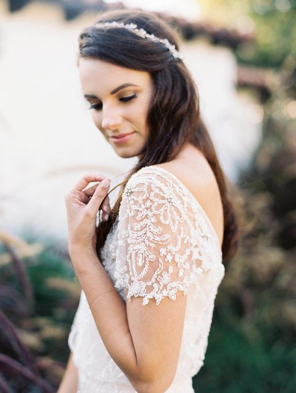 Beaded Wedding Dress with Cap Sleeves