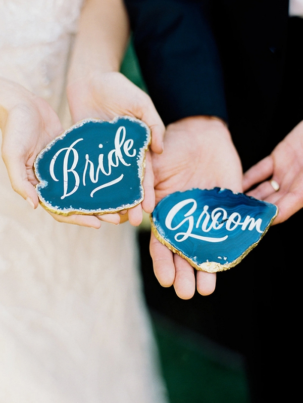 Hand Lettered Agate Escort Cards for the Bride and Groom