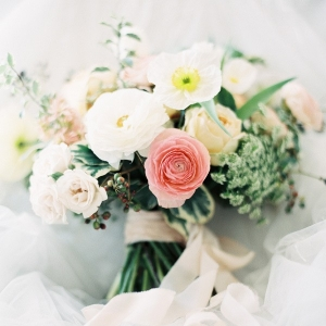 Romantic Spring Bridal Bouquet in Ivory and Peach