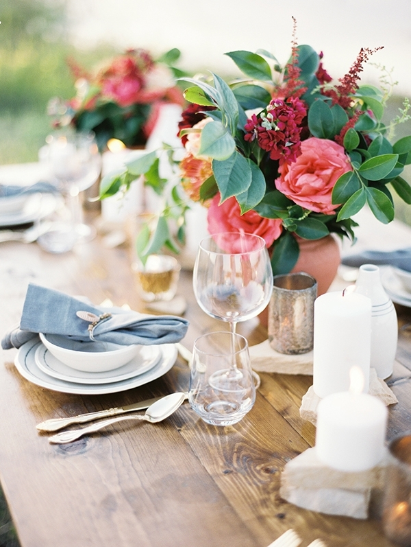 Farm Table with Blue and Coral Decor