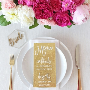 Pink and Gold Place Setting with Glitter Menus