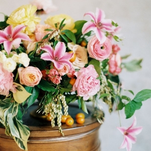 Sweet and Vibrant Centerpiece in Pink and Yellow