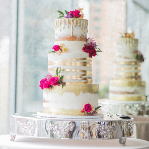 Modern Metallic Gold Wedding Cake with Bold Pink Flowers