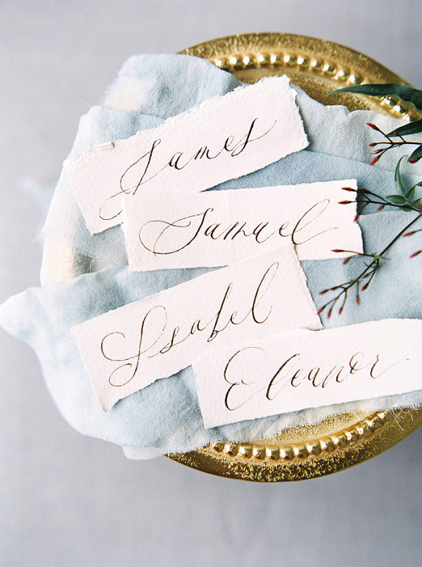 Hand Lettered Place Cards on a Vintage Gold Tray