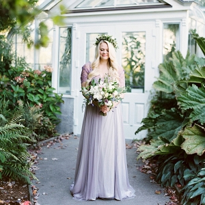 Bride in a Lavender Wedding Dress