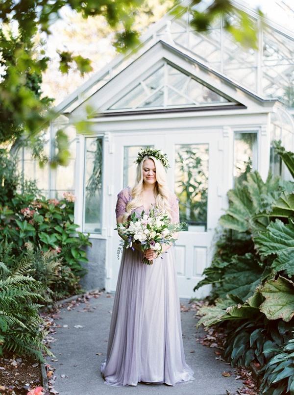 Bride in a Lavender Wedding Dress
