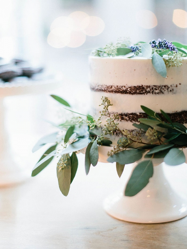 Nearly Naked Wedding Cake with Organic Greenery