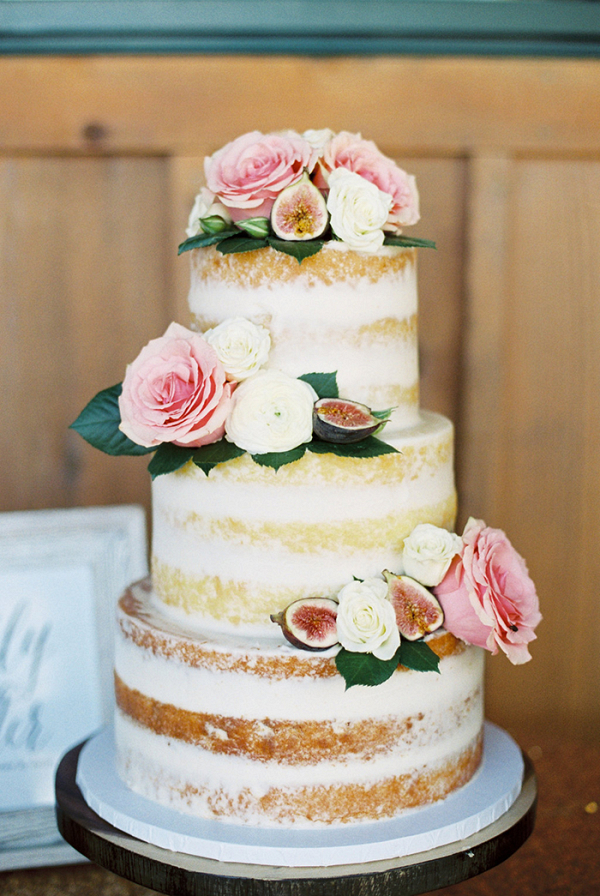 Naked Wedding Cake with Figs and Flowers