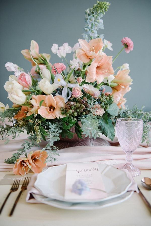 Garden flower centerpiece in opal shades of spring pastels