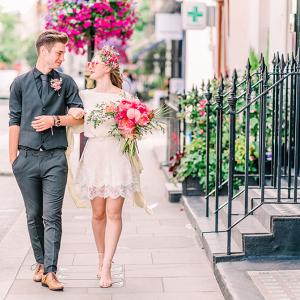 A Celebration of Pink - Retro Engagement Photos