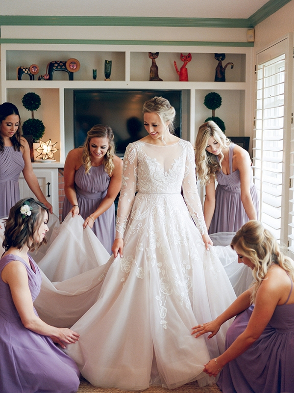 Lavender Bridesmaid Dresses with an Amethyst Wedding Dress