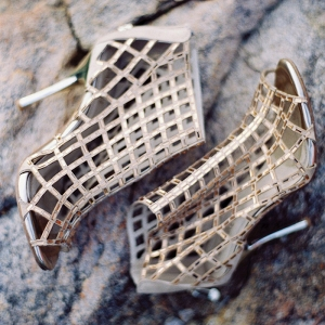 Gold Metallic Cage Booties