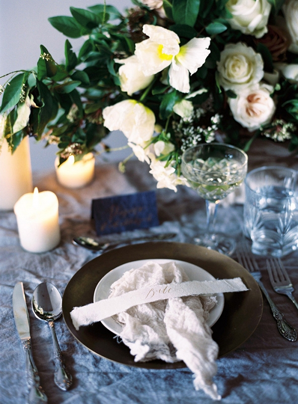 Organic Blue and White Wedding Decor with Spring Flowers