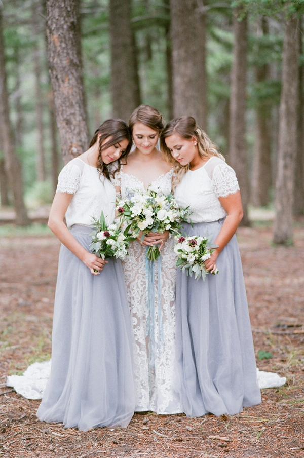 Nude Lace Wedding Dress with Blue and White Bridesmaid Dresses