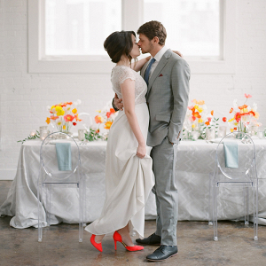 Warehouse Wedding Inspiration with Bold Colors