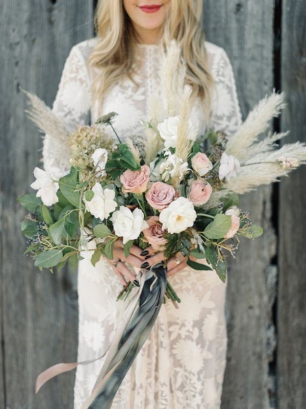 A Coastal Wedding bouquet with Neutral Flowers and Pampas Grass