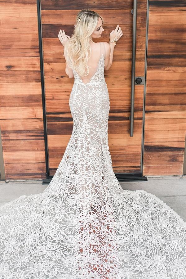 Modern Boho Wedding Dress in Nude Lace