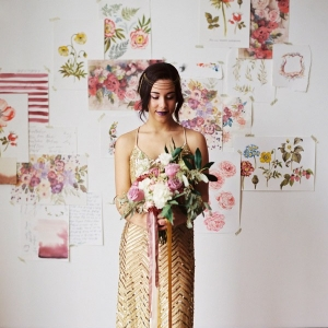 A Geometric Gold Sequin Wedding Dress and Botanical Floral Prints